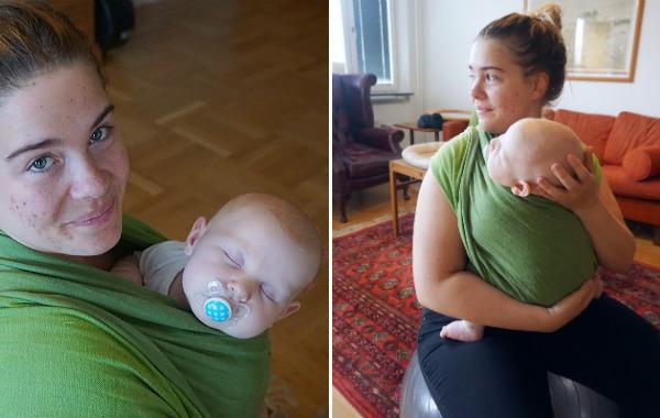 Kusin på besök söver bebis i bärsjal och på pilatesboll.