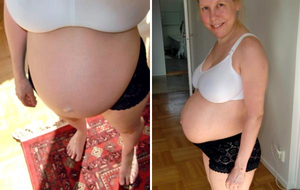 Tips till blivande förälder. Höggravid kvinna i underkläder, två bilder.