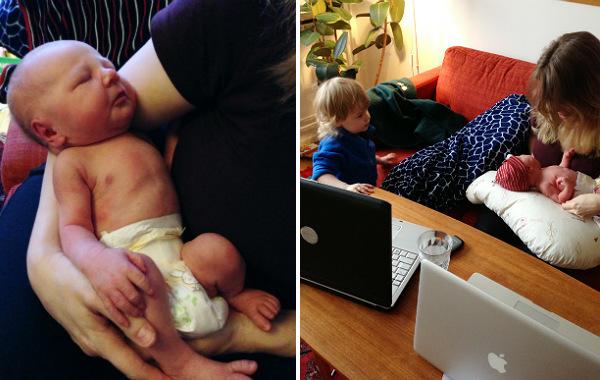 Mest förvirrande sakerna med amning. Två bilder på alldeles nyfödd bebis i bara blöjan, i soffan. Större syskon tittar på mamma och bebis.